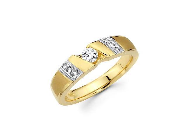 14k Yellow Gold Mens Matching Diamond Wedding Ring Band .30 ct (G-H Color, SI2 Clarity)