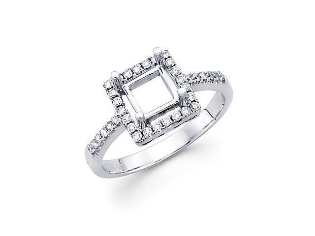 0.20ct Diamond (G-H, SI2) 18k White Gold Engagement Semi Mount Ring Setting - Fits Round 1 Ct Center