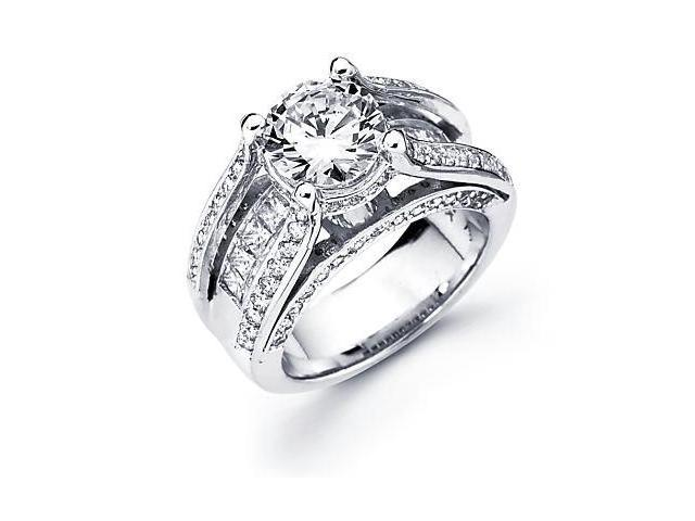 14k White Gold Diamond (G-H, SI2) Engagement Ring Semi Mount -Round 2 Ct Center Stone Not Included