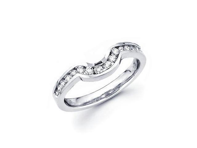 0.37ct Diamond 18k White Gold Wedding Ring Band Matching O (G-H Color, SI2 Clarity)