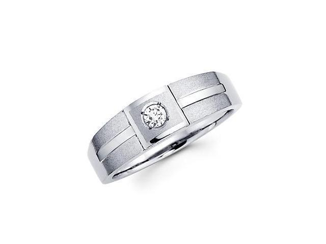.09ct Diamond 14k White Gold Solitaire Wedding Ring Band (G-H Color, SI2 Clarity)