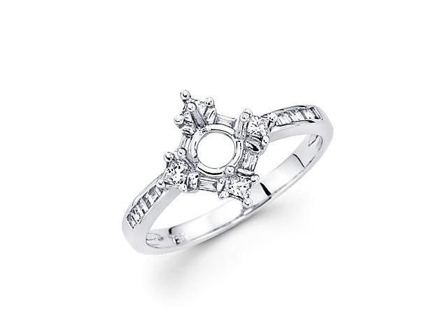 0.31ct Diamond (G-H, SI1) 18k White Gold Engagement Semi Mount Ring Setting - Fits Round 1 Ct Center