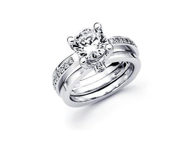 14k White Gold Diamond (G-H, SI2) Engagement Ring Semi Mount - Round 2 Ct Center Stone Not Included