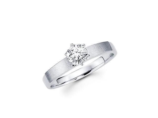 .10ct Diamond 14k White Gold Solitaire Round Engagement Ring (G-H Color, SI2 Clarity)