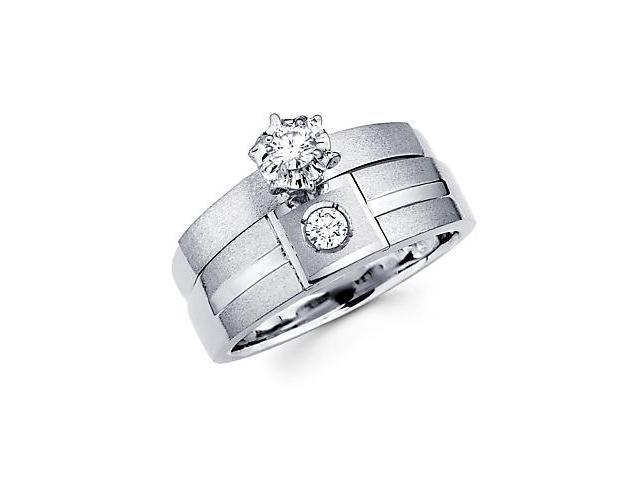 .19ct Diamond 14k White Gold Engagement Wedding Two Ring Set (G-H Color, SI2 Clarity)