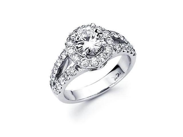 14k White Gold Diamond (G-H, SI2) Engagement Ring Semi Mount- Round 1/2 Ct Center Stone Not Included