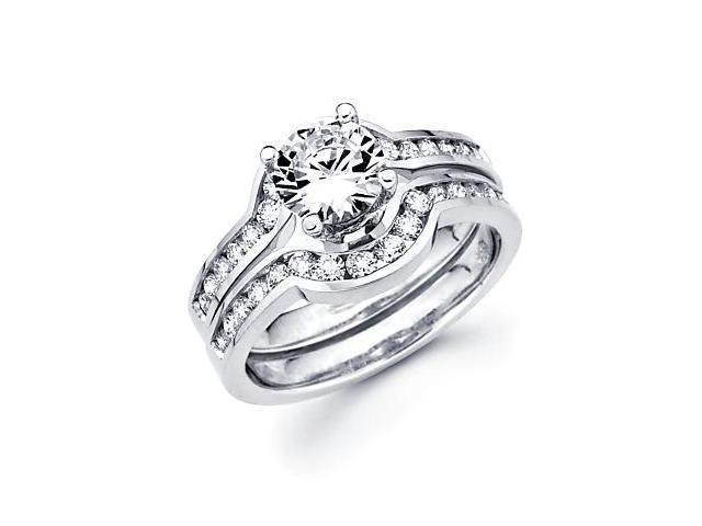 3/4 ct Diamond 18k White Gold Engagement Wedding Ring Band Set - Center Stone Not Included