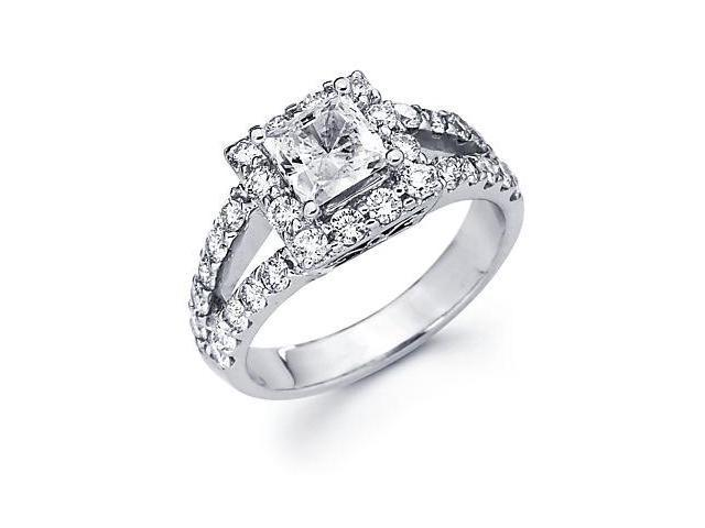 14k Gold Diamond (G-H, SI2) Engagement Ring Semi Mounting - 1 Ct Princess Center Stone Not Included