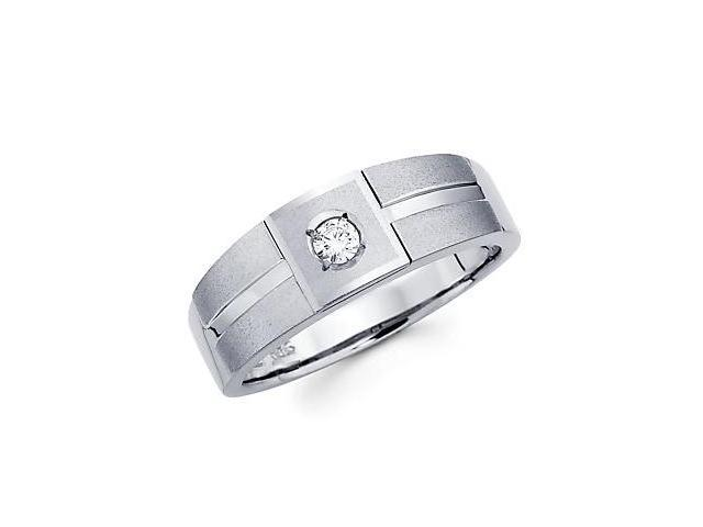 .11ct Diamond 14k White Gold Mens Wedding Solitaire Ring Band (G-H Color, SI2 Clarity)