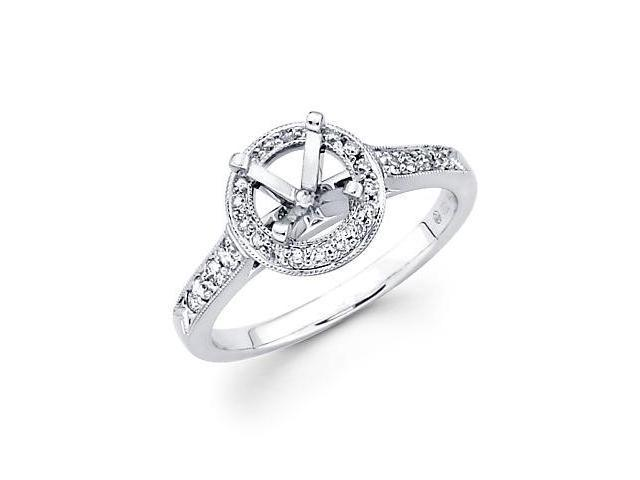 0.32ct Diamond 18k White Gold Round Engagement Semi Mount Ring Setting (G-H Color, SI2 Clarity)