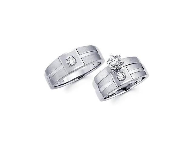 .30ct Diamond 14k White Gold His and Hers Engagement Wedding Trio His and Hers Ring Set (G-H, SI2)