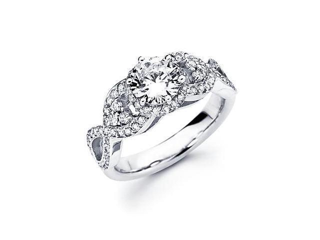 18k White Gold Diamond (G-H, SI2) Engagement Ring Semi Mount -Round 1 Ct Center Stone Not Included