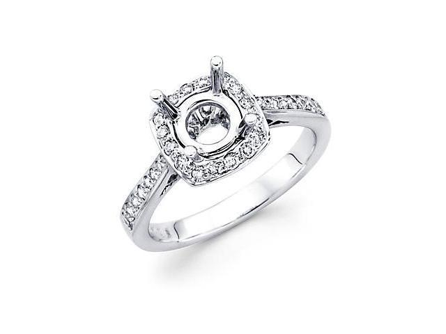 0.30ct Diamond (G-H, SI2) 18k White Gold Engagement Semi Mount Ring Setting - Fits Round 1 Ct Center