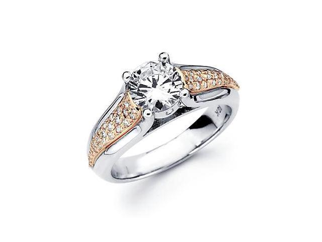 18k Two 2 Tone Gold Diamond (G-H, SI2) Engagement Ring Semi Mount - 1 Ct Center Stone Not Included