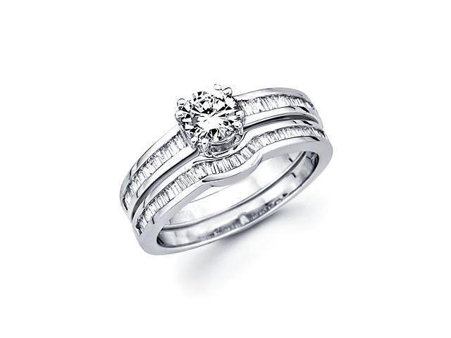 .54ct Diamond 18k White Gold Engagement Wedding Ring Band Set-0.65ct Center Stone Not Included