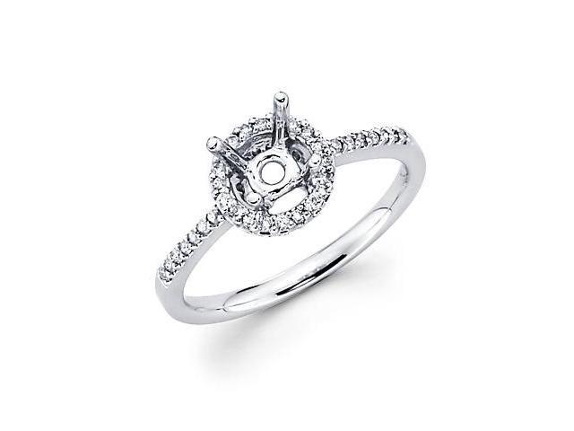 18k White Gold Round Diamond (G-H, SI2) Engagement Semi Mount Ring Setting - Fits Round 1 Ct Center