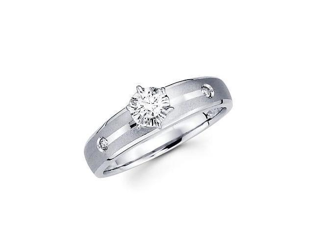 .13ct Diamond 14k White Gold Round Engagement Solitiare Ring (G-H Color, SI2 Clarity)