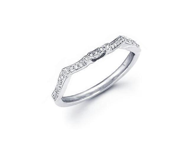 0.14ct Diamond 18k White Gold Wedding Ring Band Matching A (G-H Color, SI2 Clarity)