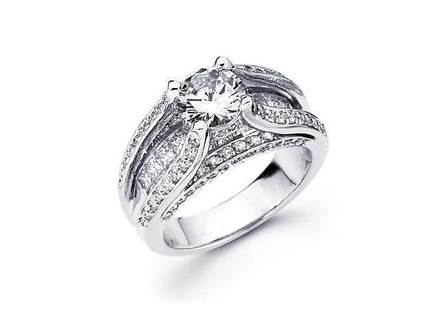 14k White Gold Diamond (G-H, SI2) Engagement Ring Semi Mount-Round 1.5ct Center Stone Not Included