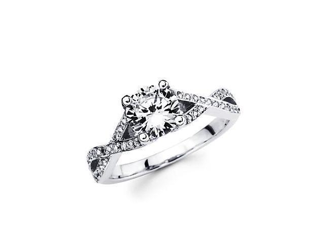 0.22ct Diamond 18k White Gold Engagement Ring Semi Mounting A - Round 1ct Center Stone Not Included