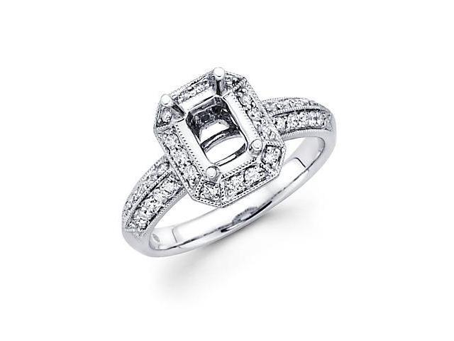 0.42ct Diamond (G-H, SI2) 18k White Gold Emerald Engagement Ring Setting - Fits Round 1 Ct Center