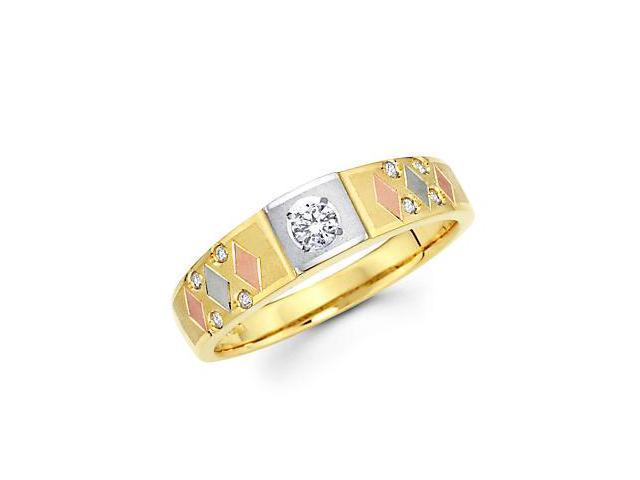 14k Yellow Gold Tri 3 Color Gold Diamond Wedding Ring Band .13 ct (G-H Color, SI2 Clarity)