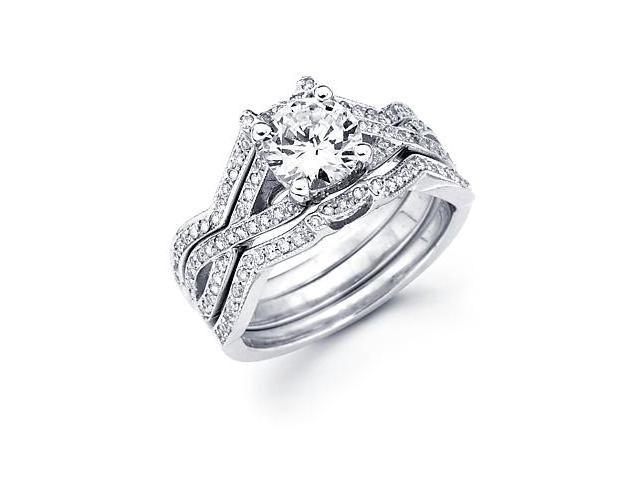 1/2 ct Diamond 18k White Gold Engagement Wedding Ring Band Set - Round 1ct Center Stone Not Included