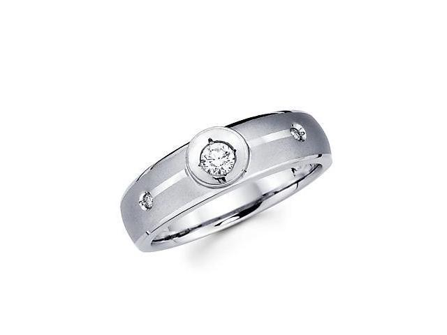 .14ct Diamond 14k White Gold Mens Wedding Solitaire Ring Band (G-H Color, SI2 Clarity)