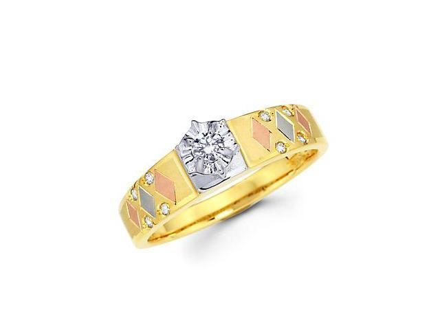 .16ct Diamond 14k Tri 3 Three Color Gold Engagement Ring (G-H Color, SI2 Clarity)