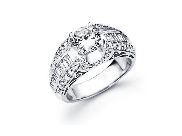 14k White Gold 1.04 Ct Diamond (G-H, SI2) Engagement Ring Semi Mount -1 Ct Center Stone Not Included