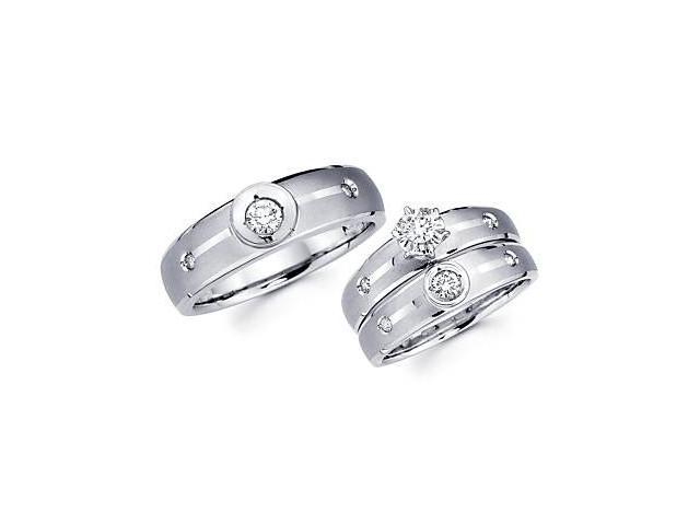 .40ct Diamond 14k White Gold Engagement Wedding Trio His and Hers Ring Set (G-H Color, SI2 Clarity)