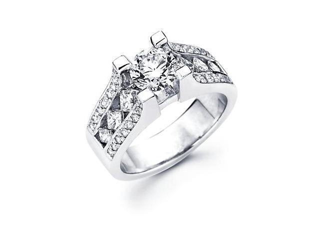 14k White Gold 3/4ct Diamond (G-H, SI2) Engagement Ring Semi Mount -1 Ct Center Stone Not Included