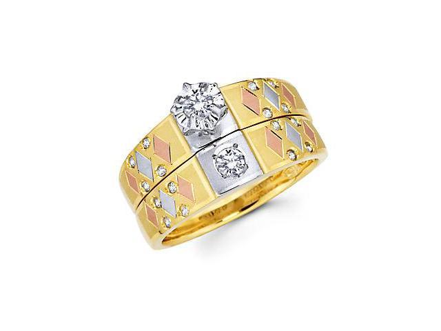.29ct Diamond 14k Tri Color Gold Engagement Wedding Ring Set (G-H Color, SI2 Clarity)