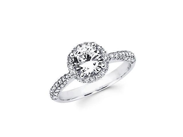 .43ct Diamond 18k White Gold Engagement Ring Semi Mounting D - 1ct Center Stone Not Included