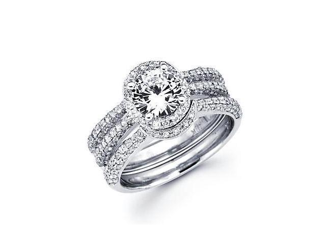 1.13ct Diamond 18k White Gold Engagement Wedding Ring Band Set - 1ct Round Center Stone Not Included