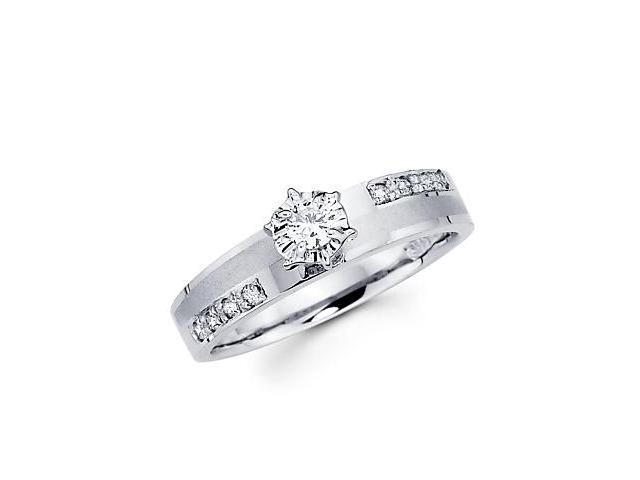 .19ct Diamond 14k White Gold Round Engagement Solitiare Ring (G-H Color, SI2 Clarity)