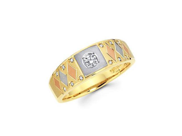 1/4ct Diamond 14k Tri 3 Three Color Gold Mens Wedding Ring Band (G-H Color, SI2 Clarity)