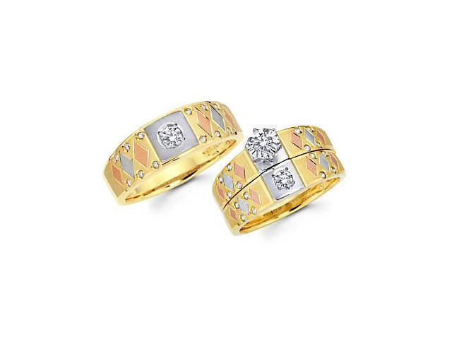 .53ct Diamond 14k 3 Color Gold Engagement Wedding Trio His and Hers Ring Set (G-H, SI2)