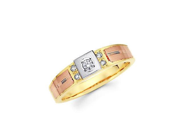 14k Yellow Tri 3 Color Gold Diamond Wedding Ring Band .11 ct (G-H Color, SI2 Clarity)
