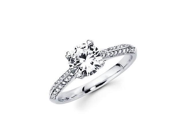 1/4ct Diamond 18k White Gold Engagement Ring Semi Mounting E -1ct Center Stone Not Included