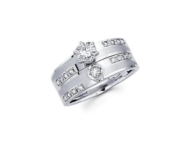 .35ct Diamond 14k White Gold Two Ring Engagement Wedding Set (G-H Color, SI2 Clarity)