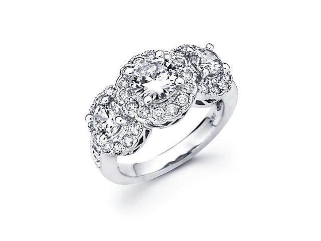 14k White Gold 3 Three Diamond (G-H, SI2) Engagement Ring Semi Mount- 1 Ct Center Stone Not Included