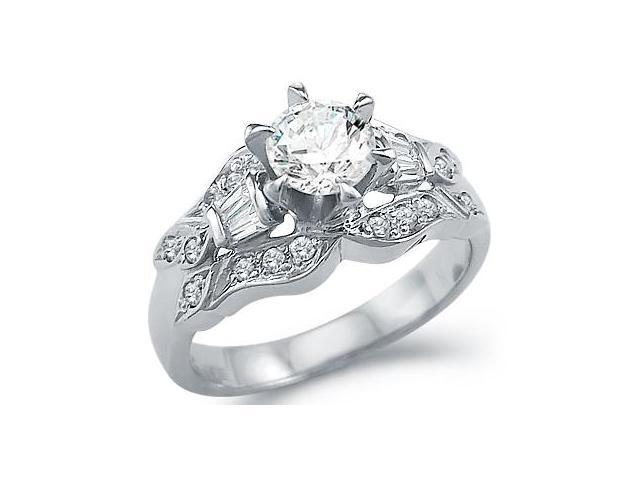 Solid 14k White Gold Intricate Engagement Solitaire CZ Cubic Zirconia Ring 1.25 ct