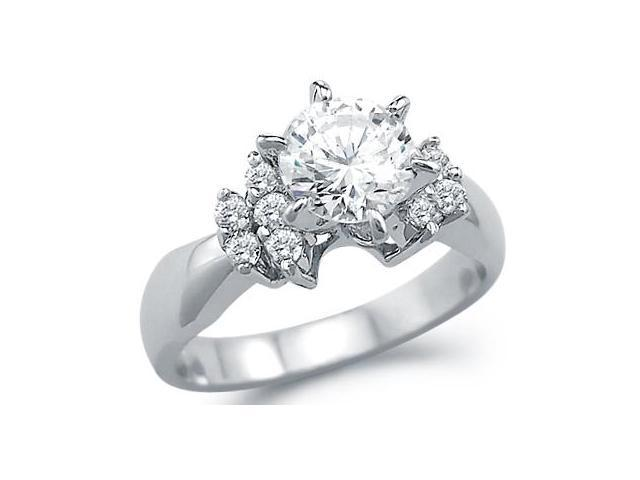 Solid 14k White Gold New Engagement Round Solitaire CZ Cubic Zirconia Ring 1.25 ct