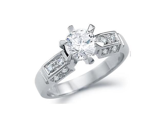 Solid 14k White Gold Engagement Round Solitaire CZ Cubic Zirconia Ring Band 1.0 ct