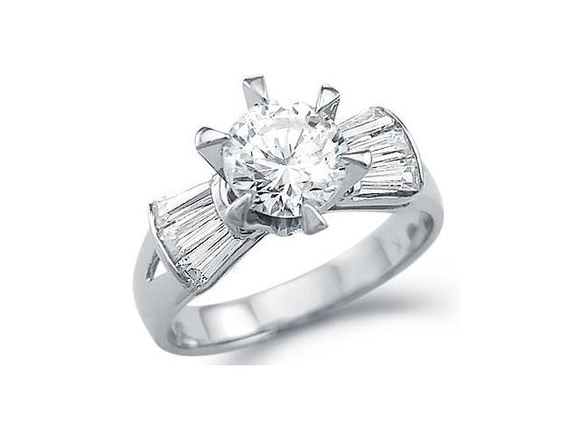 Solid 14k White Gold Round Engagement Solitaire CZ Cubic Zirconia Ring Band 1.5 ct