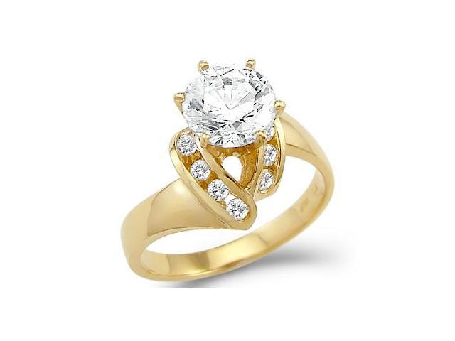 Solid 14k Yellow Gold Solitaire CZ Cubic Zirconia Engagement Ring Unique New Round Cut 2.0 ct