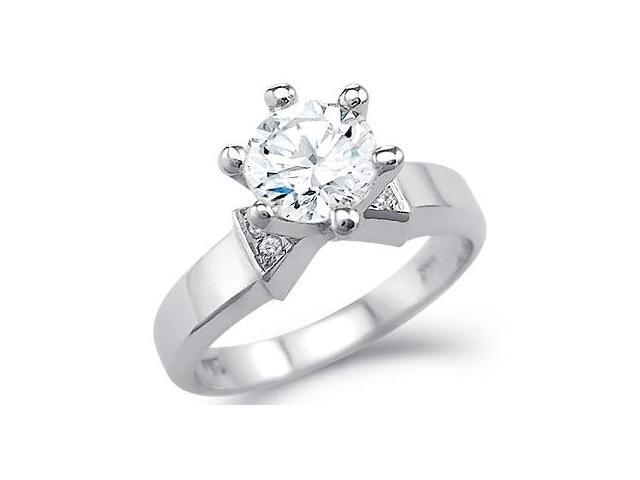 New Solid 14k White Gold Engagement Solitaire Round CZ Cubic Zirconia Ring 1.25 ct