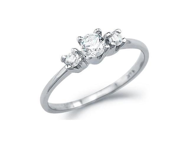 Solid 14k White Gold Engagement Wedding 3 Three Stone CZ Cubic Zirconia Ring Round Cut 0.25 ct