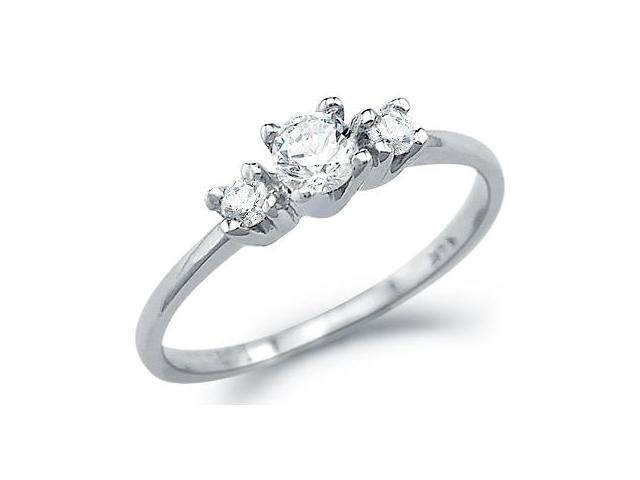 Solid 14k White Gold Engagement Wedding 3 Three Stone CZ Cubic Zirconia Ring Round Cut 0.25 ct
